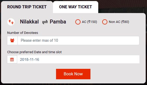 SabarimalaQ Nilakkal to Pampa & Pampa to Nilakkal Tickets